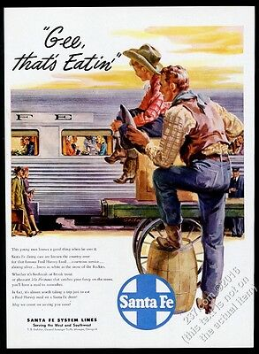 1947 Santa Fe Railroad train dining car & cowboy art vintage print ad