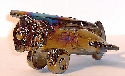 Boyd Glass Plane Airplane CARNIVAL Ebony Black Made in 1991 Paperweight FUND