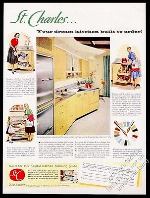 1956 St. Charles modern gold yellow kitchen photo housewife art vintage print ad