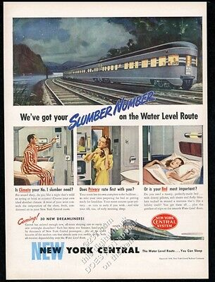 1946 New York Central railroad train sleeper compartment vintage print ad