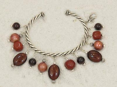 Carolyn Pollack Relios Sterling Red Garnet Multi Gemstone Beaded Cuff Bracelet