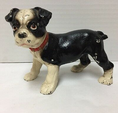 Antique Cast Iron Boston Terrier Dog Doorstop Small Puppy 5 inches