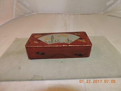 Antique Japanese Red Lacquer Laquer Wood Trinket Box Floral Flying Bird