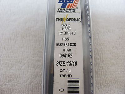 13/16 HSS 1/2 Reduced Shank Silver and Deming Drill Bit with 3-Flatted Shanks