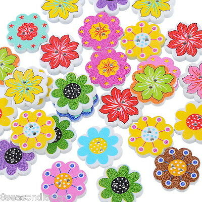 50PCs Wooden Buttons Mixed Color Flower Shaped 2-hole Sewing Scrapbook DIY