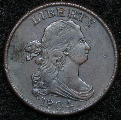 1804 Draped Bust Half Cent - Nice Coin, C-9 R2, Free Shipping  (5190)