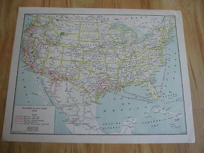 Old Vintage 1924 S.P. -  Southern Pacific Lines - RAILROAD MAP