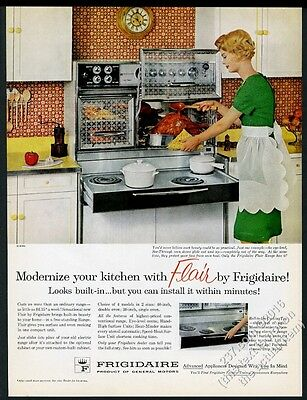 1961 Frigidaire Flair double oven pull-out cooktop range photo vintage print ad