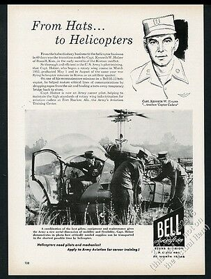 1956 Bell H-13 Sioux US Army helicopter photo pilot art vintage print ad