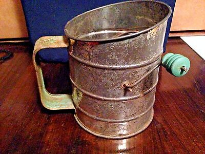 Vintage Flour Sifter Green Knob and handle