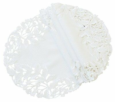 Arietta Embroidered Cutwork Spring Doilies 12in White Set of 4, New