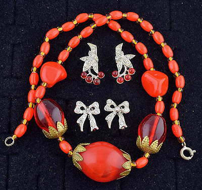 Art Deco Costume Jewelry Lot 1930s Vtg Necklace Earrings Red Rhinesone ~ 1090