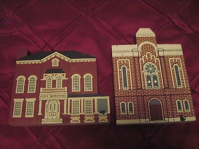 2 Cat's Meow Wood Collectibles From Series VI..First Baptist Church & Hospital
