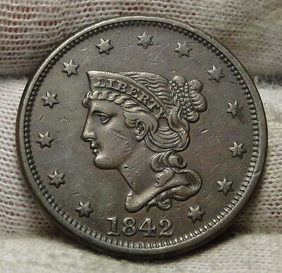 1842 Large Cent, Braided Hair Penny - Very Nice Coin Free Shipping (4793)