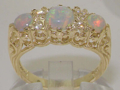 High Quality Opal & Diamond Solid 9ct Yellow Gold Ladies Ring