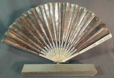 Victorian Maquet Paris Silver Foil Embossed Paper Pleated Folding Hand Fan & Box