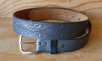 Vtg Silver Creek Western Tooled Gray Leather Belt w/Removable Buckle Size 34