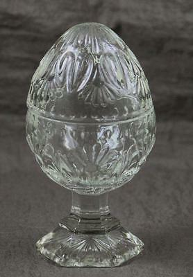 Avon Egg Pressed Glass Pedestal Candle Holder Lidded 2 NEW Candles Included