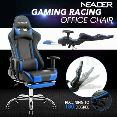 Black and Blue Gaming Racing Soft Adjustable Recliner office Computer Chair