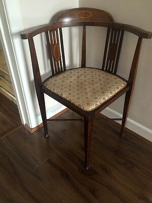 Antique Edwardian Mahogany Inlaid Corner Chair FREE UK P&P