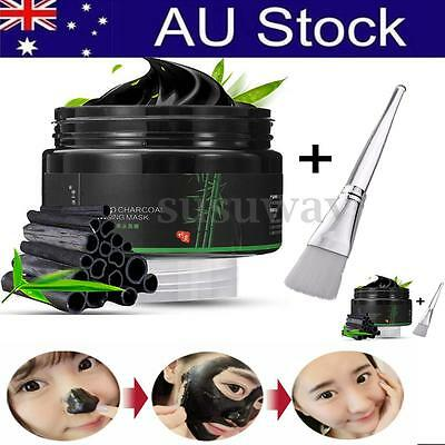 Black Mud Bamboo Charcoal Face Mask Blackhead Remover Nose Clean Mask+Brush AU