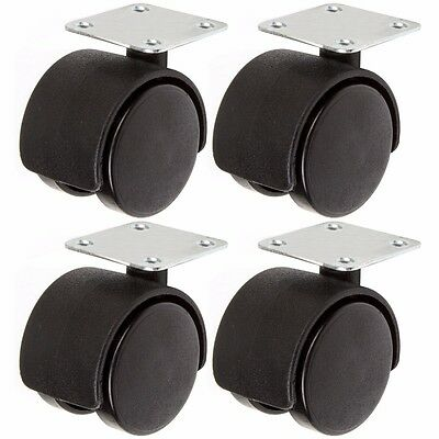 4x TWIN CASTOR WHEELS 40mm Dolly Truck/Trolley/Chair Furniture Double Caster Set