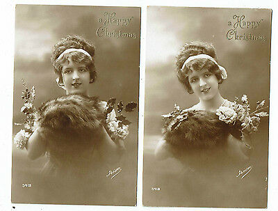Post Cards Greetings Both Titled A Happy Christmas