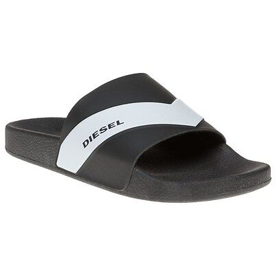 New Mens Diesel White Sa-Maral Synthetic Sandals Pool Slides