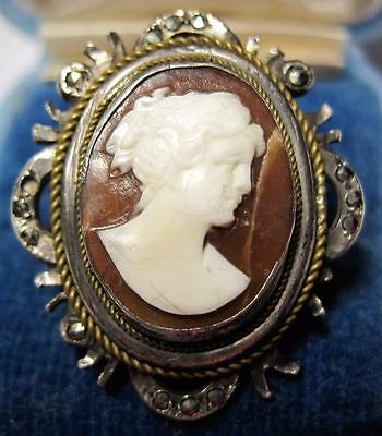 vintage carved Shell Cameo Ring 800 silver Marcasite accents Size 7