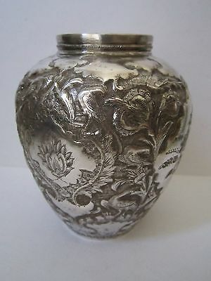 "Exceptional Fine Quality Antique Persian Islamic Solid Silver Vase 4-1/2"" SIGNED"
