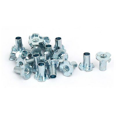 """1/4"""" Thread Dia 18mm Height 4 Prongs Partially Threaded Pronged Tee Nuts 20pcs"""