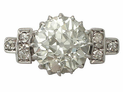 3.00 ct Diamond and 18 ct White Gold Dress Ring - Art Deco - Vintage Circa 1940