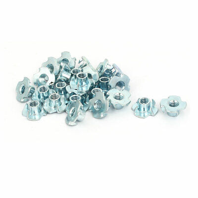 1/4-inch Thread Dia 8mm Height 4 Prongs Fully Threaded Pronged Tee Nuts 25pcs