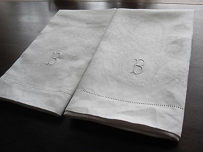 "Pair White Antique Monogram ""b"" Huck Linen Damask Hand Kitchen Dish Guest Towels"