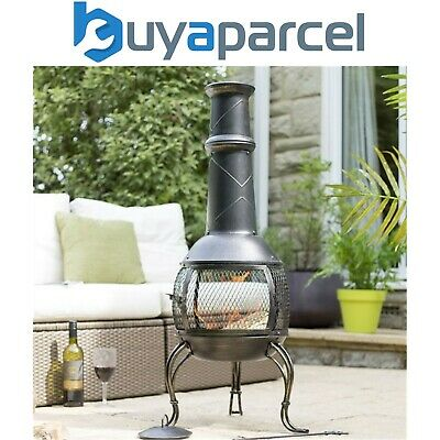 La Hacienda 56210 Leon Large Chimenea Chiminea Mesh Bronze Steel Garden Heater