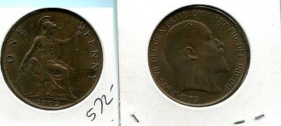 Great Britain 1902 One Penny Coin Xf Au 5727G