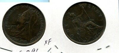 Great Britain 1899 One Penny Coin Xf 5729G