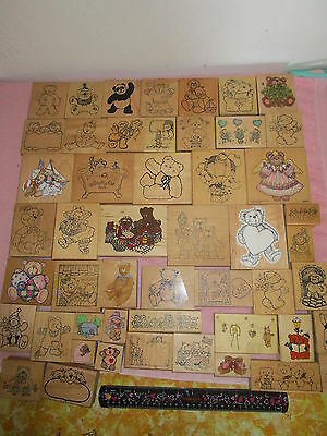 lot of 50 mostly LARGE RUBBER STAMPS all BEARS *Bears* BEARS Wooden Mounts