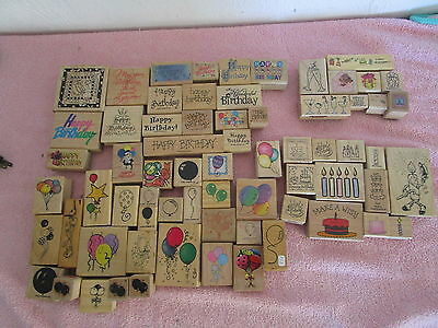 Lot of 65 Rubber Stamps HAPPY BIRTHDAY Cake CANDLES Balloons MISC PARTY THEME