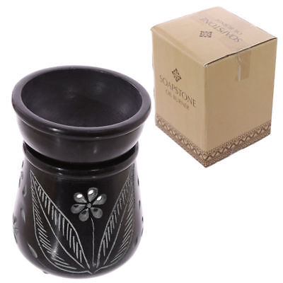New Soapstone Oil Burner Black Floral Etched Design  2 Piece Boxed Puck Sob08