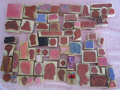 Lot of 70+ Rubber Stamps FRUIT Vegetables BIRDS Apple Strawberry Carrot FOOD &c