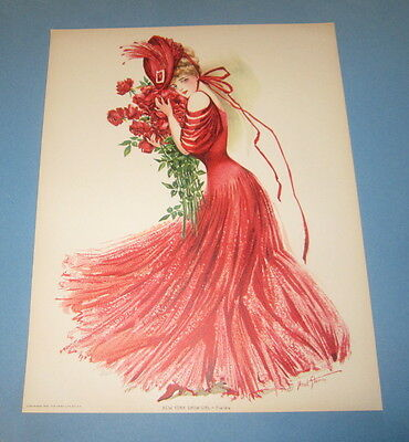 Old Vintage 1907 - Antique VICTORIAN PRINT - New York Show Girl - FIELD'S