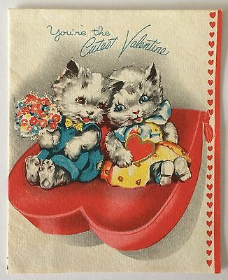 Vintage Greeting Card ~ Kittens on Heart Pillow Valentine