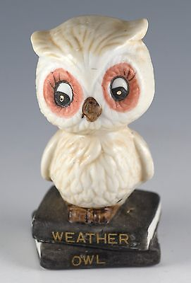 "Vintage Porcelain Weather Forcaster Owl Figurine 3.25"" High JSNY"