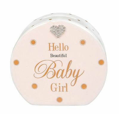 Mad Dots Money Box Hello Beautiful Baby Girl and Crystal Heart Detail
