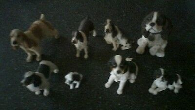 Collection of Eight Spaniel ornaments cocker springer.
