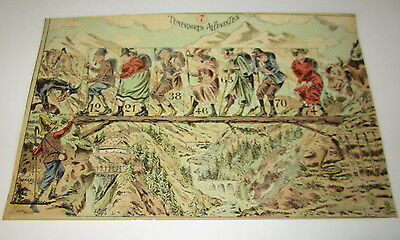 Old c.1900 Antique - French Game PRINT - HIKERS - Temeraires Alpinistes