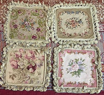 """4 Antique  French Aubusson Style  Tapestry Decorative Cushion 13"""" By 14"""""""