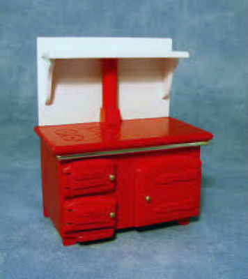 Dolls House Furniture: Kitchen Range : Red & White Oven / Cooker   in 12th scale