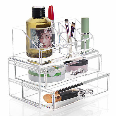 Beauty Clear Acrylic 2 Drawers Cosmetic Makeup Storage Display Table Organiser